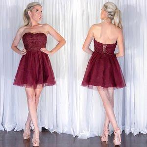 Burgundy Red Skater Strapless Sparkly Party Dress